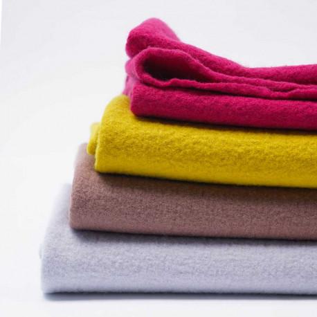 Tissu drap de laine bouillie  moutarde | pretty mercerie | mercerie en ligne