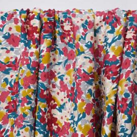Tissu viscose blanche à motif floral abstrait rose et moutarde | pretty mercerie | mercerie en ligne