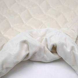 Tissu matelassé velours blanc cassé à motif graphique | pretty mercerie | mercerie en ligne