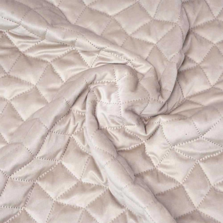 Tissu matelassé velours beige à motif graphique | pretty mercerie | mercerie en ligne