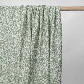 Tissu viscose vert sauge à motif petite marguerite blanc cassé | pretty mercerie | mercerie en ligne