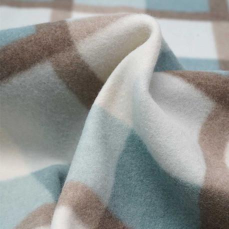 Tissu drap manteau à carreaux bleu et beige | Pretty mercerie | mercerie en ligne