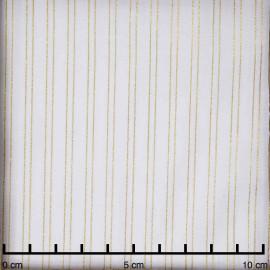 Tissu coton blanc cassé à motif rayures dorées | pretty mercerie | mercerie en ligne