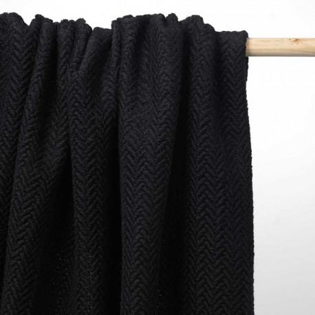 Tissu lainage noir maille bouclée à motif chevron | Pretty Mercerie | mercerie en ligne