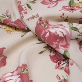 Tissu crêpe beige à motif fleuri rose, vert et moutarde / Pretty Mercerie / mercerie en ligne