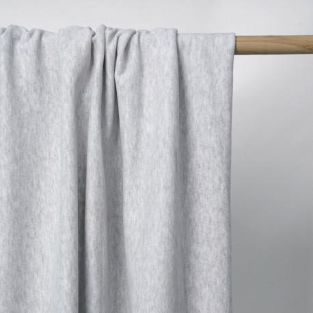Tissu viscose pilou-pilou gris clair chiné | Pretty Mercerie | mercerie en ligne