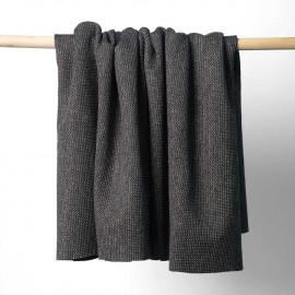Tissu lainage noir maille tissée chevron fils dorés | pretty mercerie | mercerie en ligne