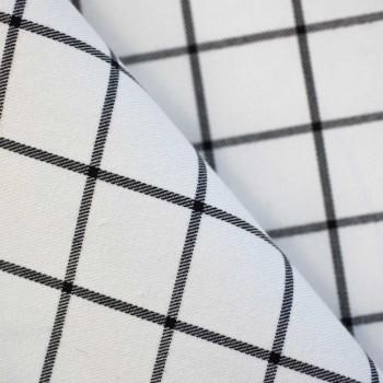 Tissu polyester carreaux blanc & noir x 10cm