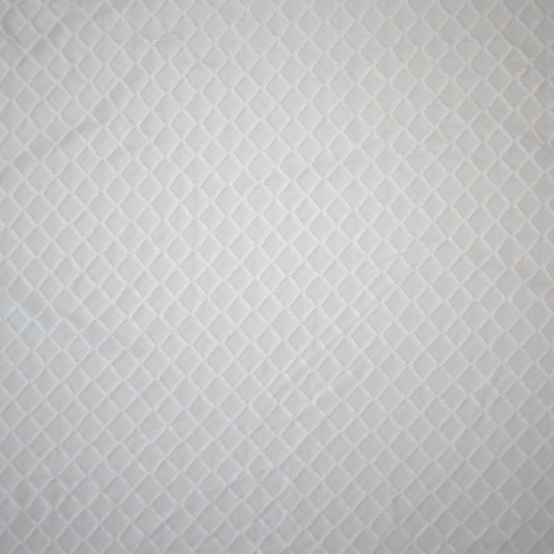TISSU DENTELLE CARREAUX BLANC CASSÉ x 10 CM