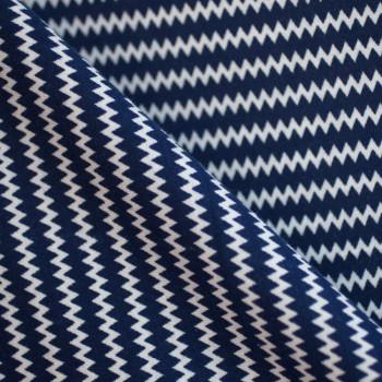 JERSEY ZiG ZAG BLUE MEDIEVAL & BLANC x 10cm
