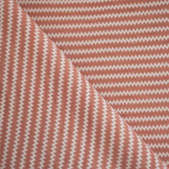 JERSEY ZiG ZAG PEACH BLOOM & BLANC x 10cm