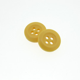 Bouton Polyester  Jaune Bouton D'or 15mm