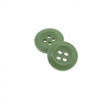 Bouton Polyester Vert Kaki 15mm