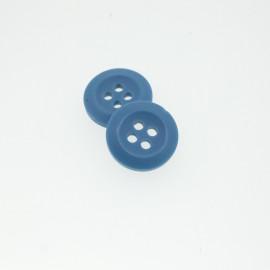 Bouton Polyester Bleu Acier 15mm