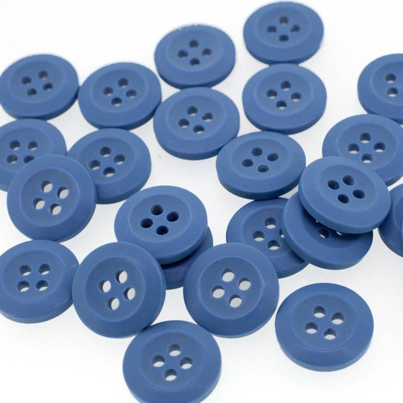 Bouton Polyester Bleu Guède 15mm