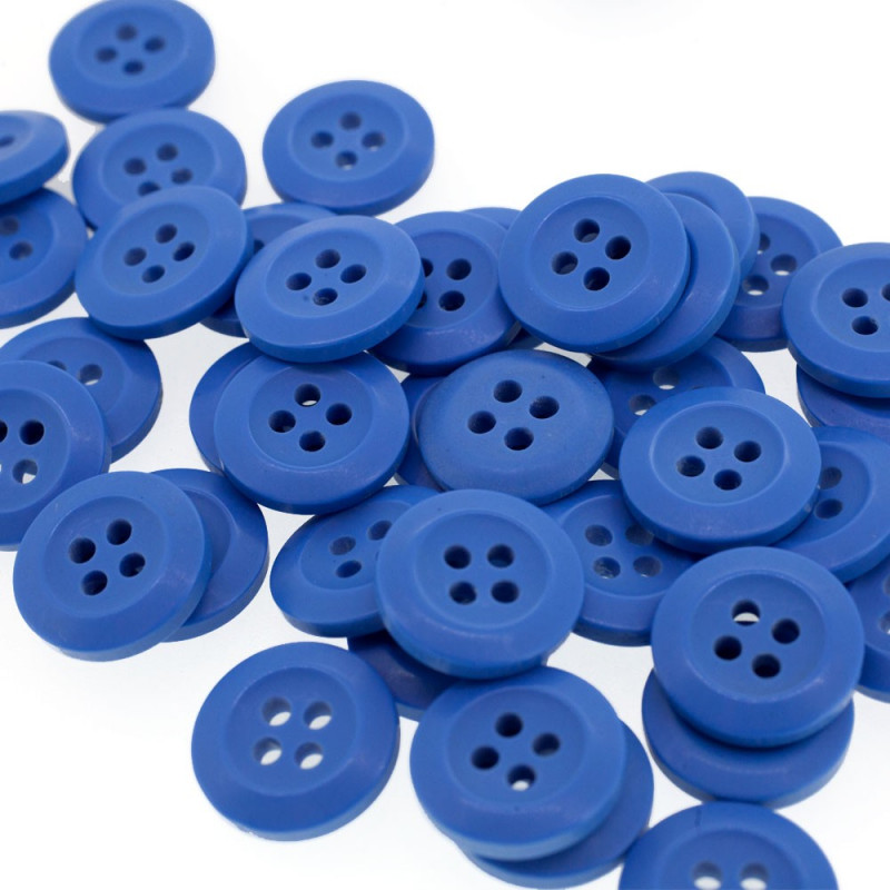 Bouton Polyester Bleu De France 15mm