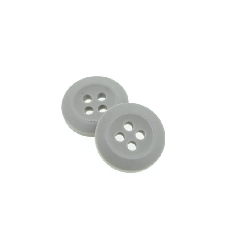 Bouton Polyester Gris Acier 15mm