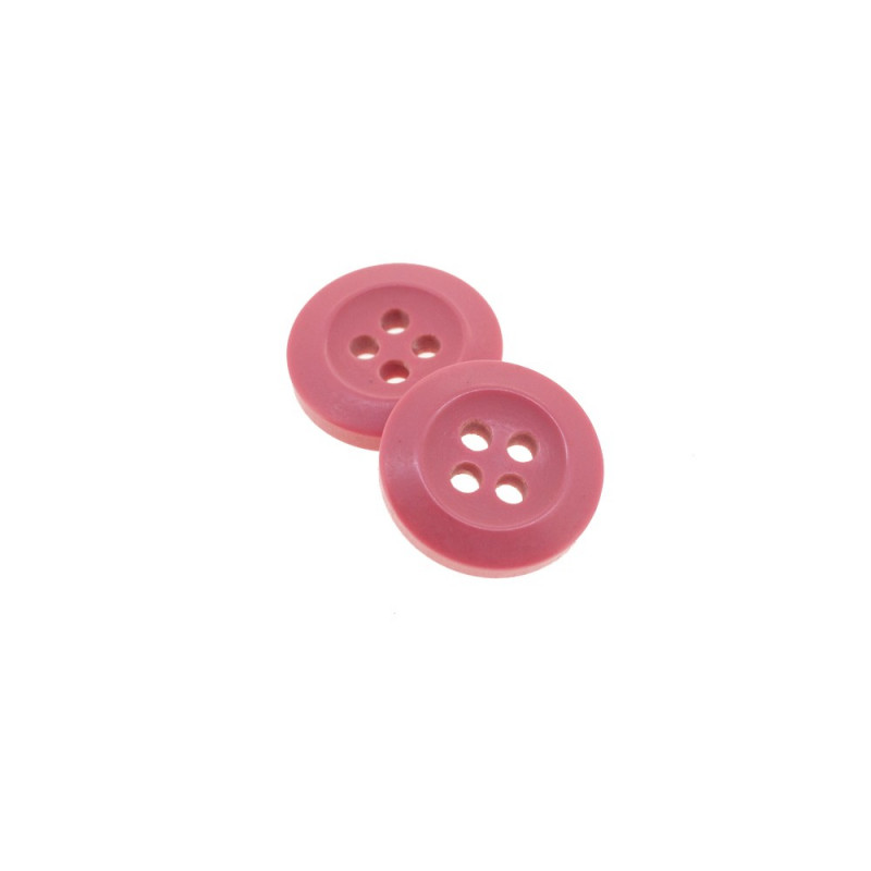 Bouton Polyester Rose Incarnadin 15mm