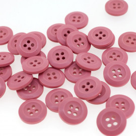 Bouton Polyester Rose Incarnadin 15mm