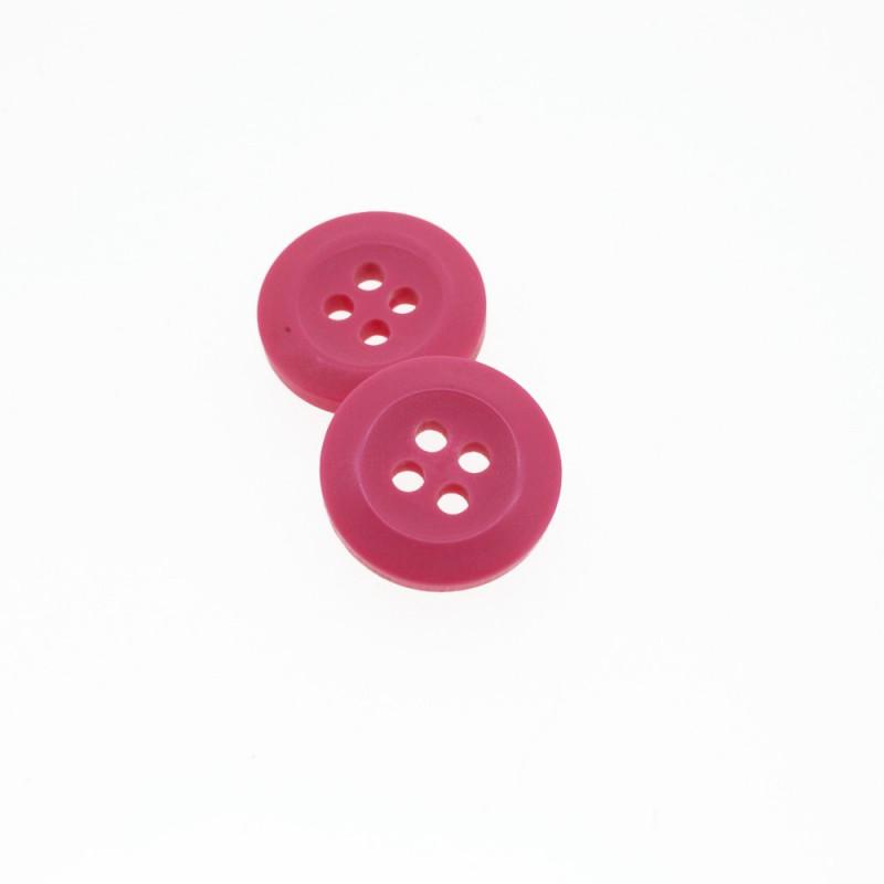 Bouton Polyester Rose Incarnat 15mm