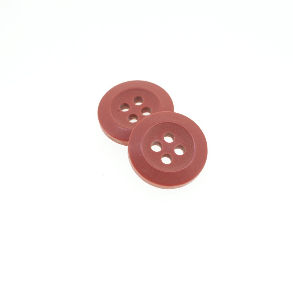Bouton Polyester Rouge Tomette 15mm