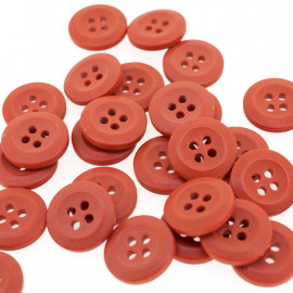 Bouton Polyester Rouge Ambre 15mm