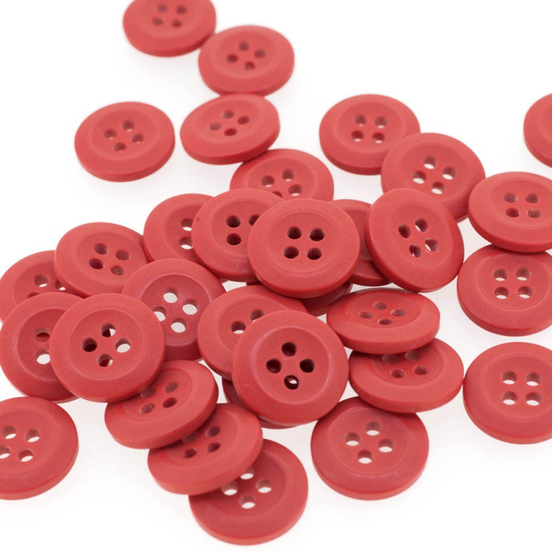 Polyester Red Currant Button 15 mm
