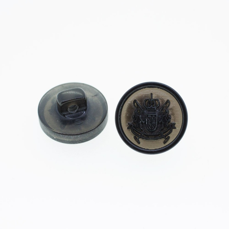 Bouton Polyester Blason Black 15mm
