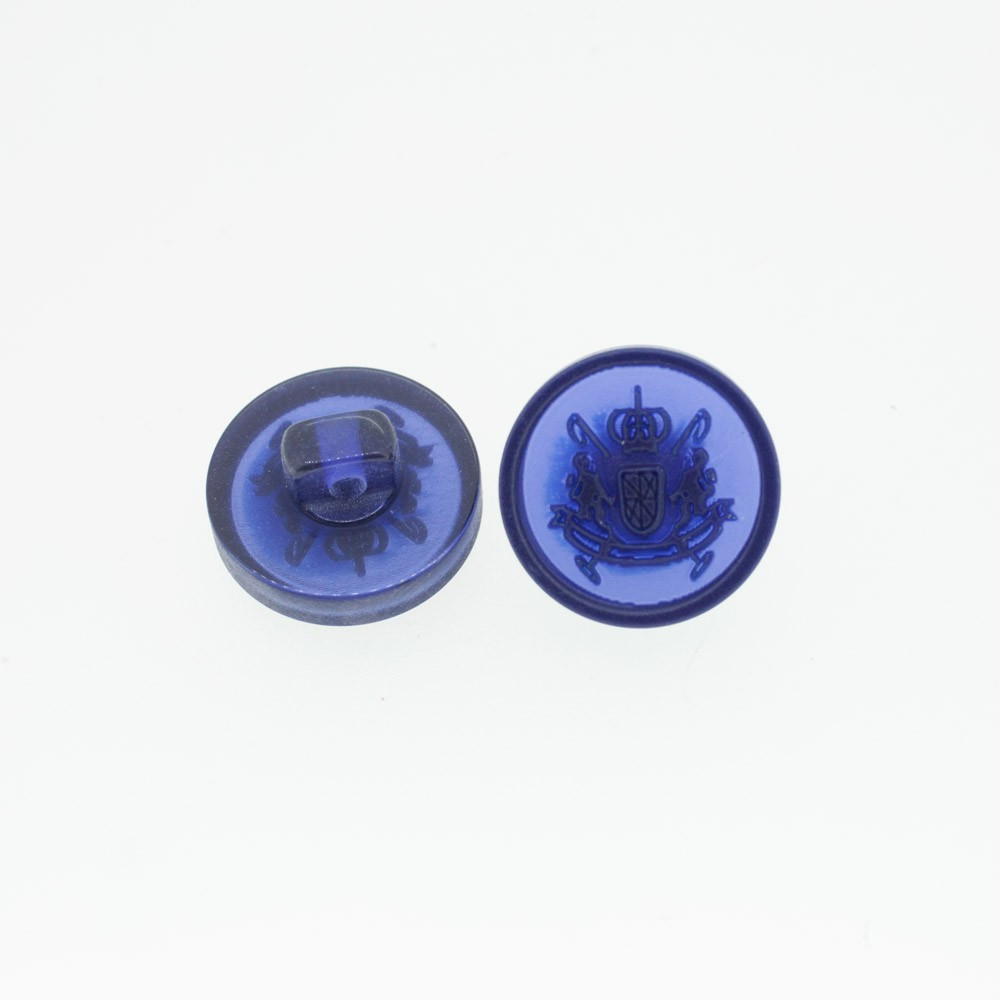 Bouton Polyester Blason Bleu De Minuit 15mm