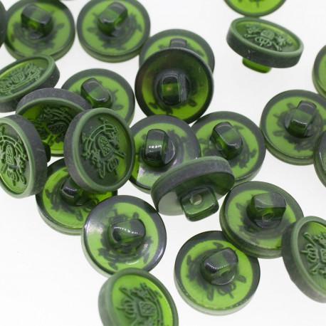 Bouton Polyester Blason Vert Militaire 15mm