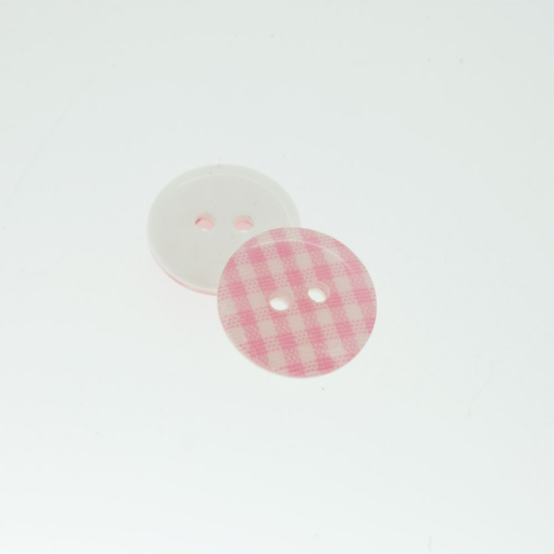 Bouton Polyester Vichy Rose Persan 15mm