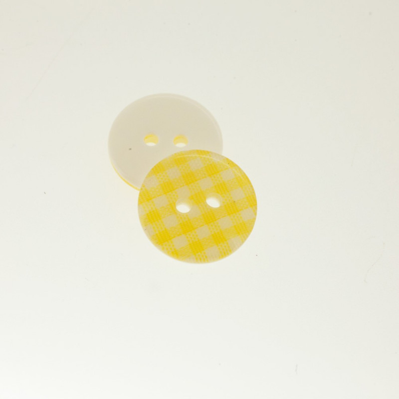 Bouton Polyester Vichy Bouton D'Or 18mm