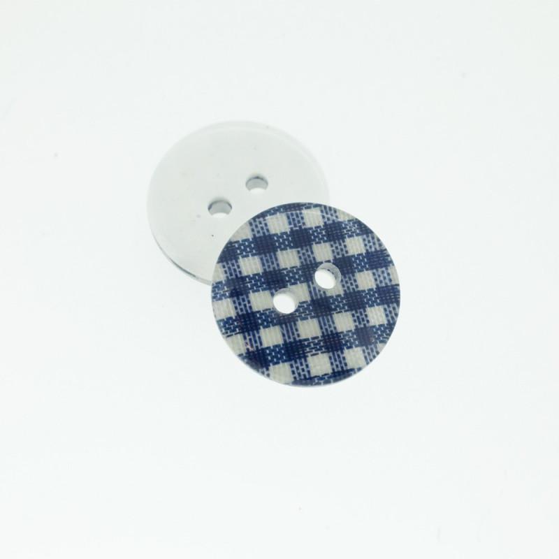 Bouton Polyester Vichy Bleu Marine 18mm