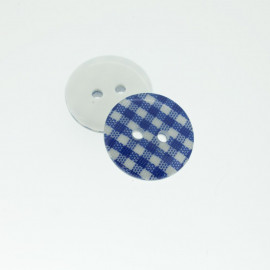 Midnight Blue Gingham Polyester Button 18 mm