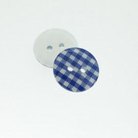 Bouton Polyester Vichy Bleu De Minuit 18mm