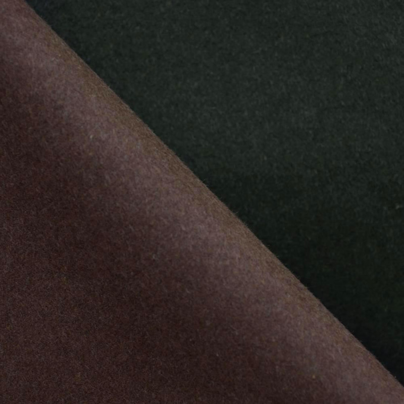 TISSU LAINAGE DOUBLE FACE MARON & KAKI x 10cm