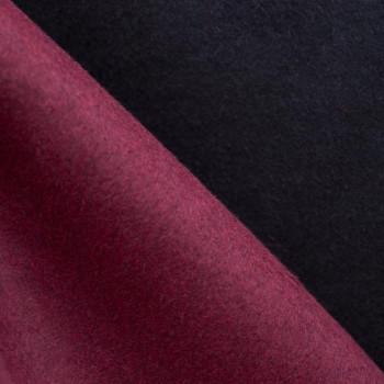 TISSU LAINAGE DOUBLE FACE NOIR & BORDEAUX x 10cm