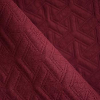 TISSU JERSEY MATELASSÉ 3D rouge tibétain x 10cm
