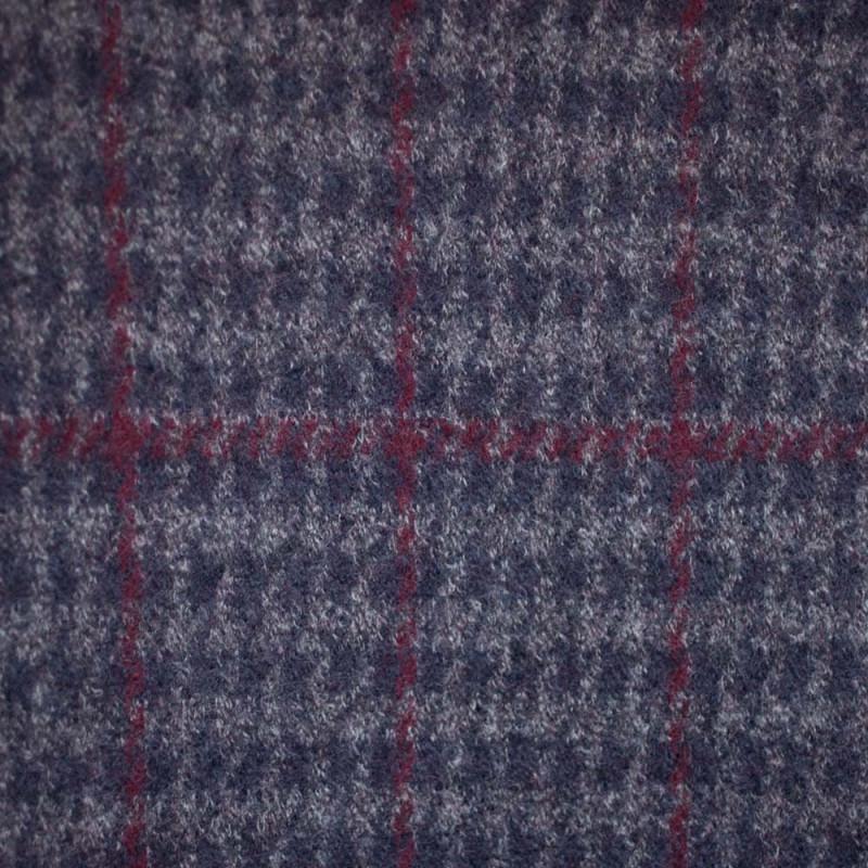 Lainage Carreaux gris & bleu & bordeaux x 10cm
