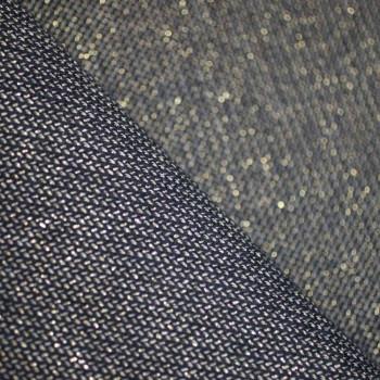 Tissu lainage bleu & son fil lurex or x 10cm