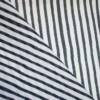 TISSU COTON LEGER RAYE BEIGE & NOIR x 10cm