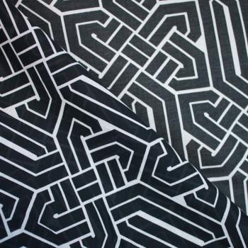 TISSU COTON LEGER IMPRIME GEOMETRIQUE x 10cm
