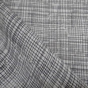 TISSU RAYON LIGNES DESTRUCTURÉES BLACK & WHITE   X 10 CM