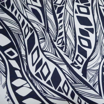 TISSU COTON IMPRIME JUNGLE BLANC & BLUE X 10cm