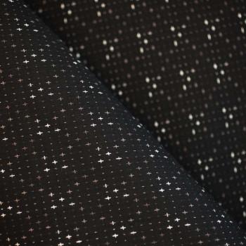 TISSU COTON TISSE LITTLE CROSS NOIR MARRON GLACE & BLANC X 10cm
