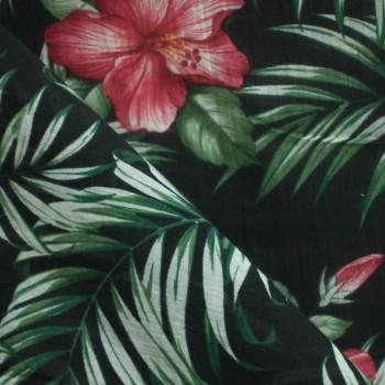 TISSU COTON LEGER TROPICAL FLOWERS X 10 CM
