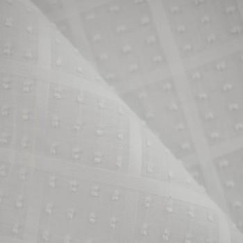 TISSU COTON PLUMETIS A CARREAUX BLANC X 10 CM