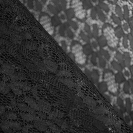 Tissu dentelle pâquerettes Noir x 10cm