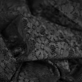 Tissu dentelle pâquerettes Noir - pretty mercerie - mercerie en ligne