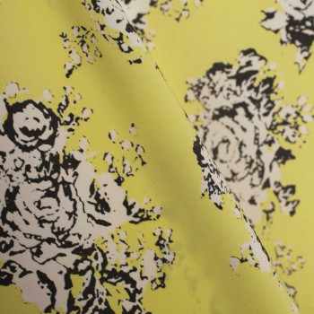 TISSU POLYESTER IMPRIME FRESH FLOWERS YELLOW  x 10 CM